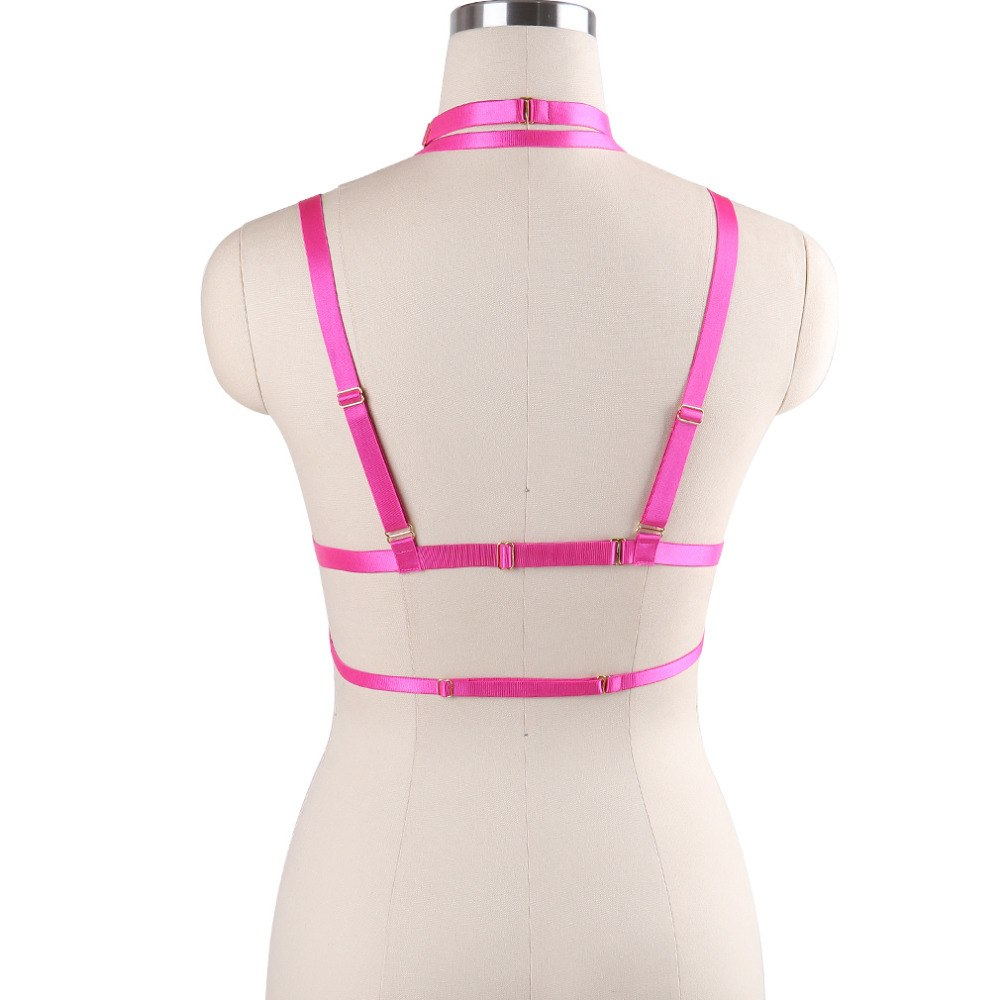 'Evalynn' O-Ring Stretchy Cage Bra Harness 9 colours - peachiieshop