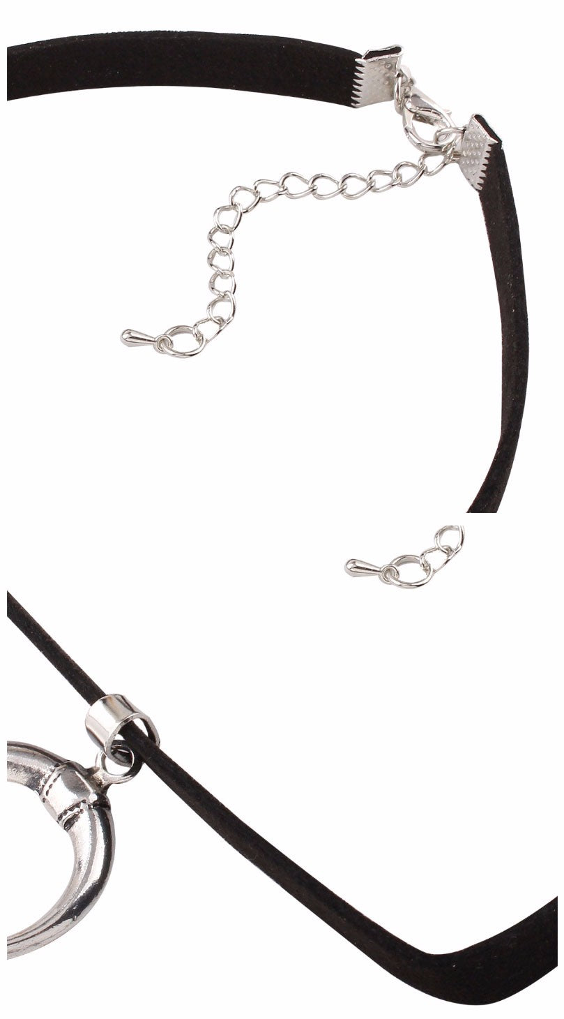 MOON WITCH Silver and Black Velvet Choker - peachiieshop