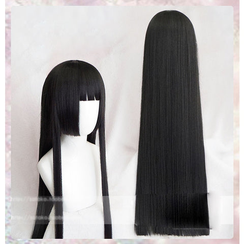 GINZA Doll Japan Harajuku 100cm Long Straight Black Hime cut Princess Style Wig Heat Resistant with short bangs - peachiieshop