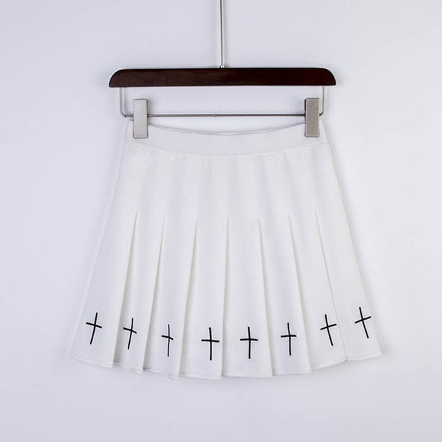YAMI KAWAII Gothic Cross Pleated Mini Skirt in Black or White - peachiieshop