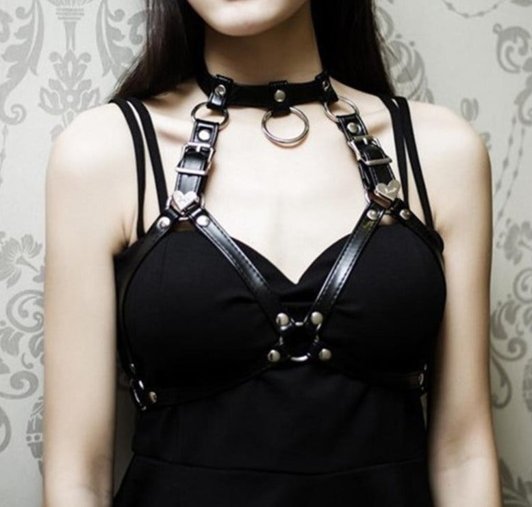 'Akari' Harness in Black with O Ring Choker - peachiieshop