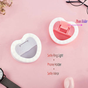 Kawaii Clip On Heart Selfie Ring Light for iPad or Phone - peachiieshop