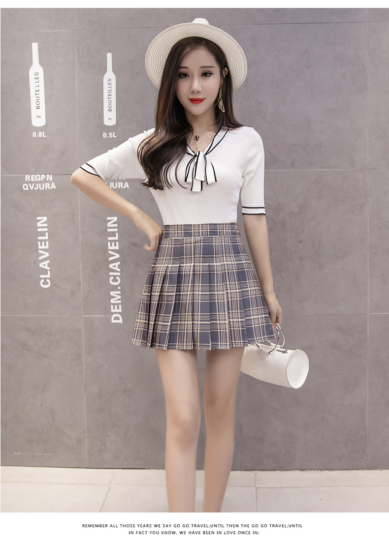 Basic Pleated High Waist School Uniform Skirt in Plaid and Solid Colours Size S-2XL - peachiieshop