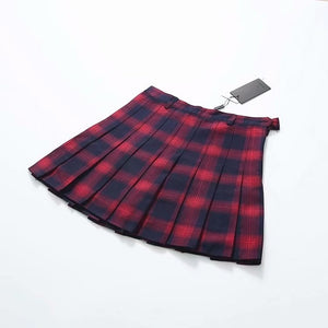 'Hannah' Heavy cotton Goth Plaid Pleated Mini Skirt in 3 colours - peachiieshop