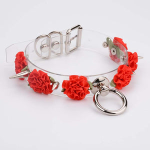 MARIA Transparent Spiked Floral O Ring Choker (6 colours) - peachiieshop