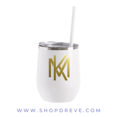 White Glitter Metal Wine Tumbler