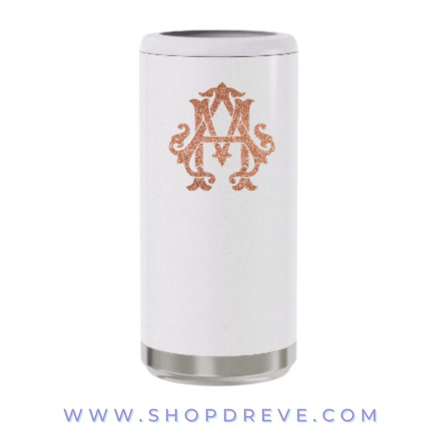 White Glitter Slim Can Cooler - Drêve