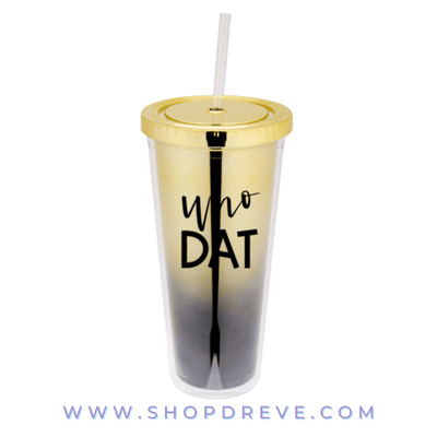 Who Dat Metallic Black & Gold Tumbler - Drêve