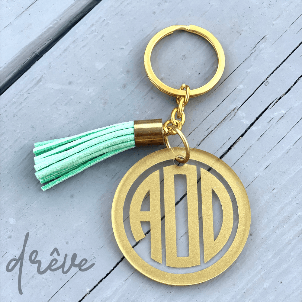 Personalized Two-Inch Acrylic Keychain with Gold Hardware