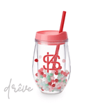 Holiday Pom Pom Stemless Wine Tumbler - Drêve