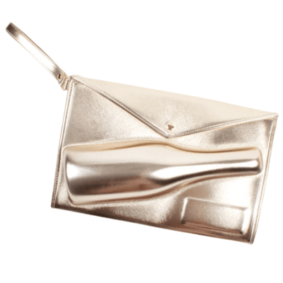 Large Champagne Clutch in Metallic Gold - Drêve