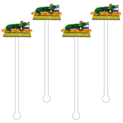 Alligator Mardi Gras Float Acrylic Stir Sticks