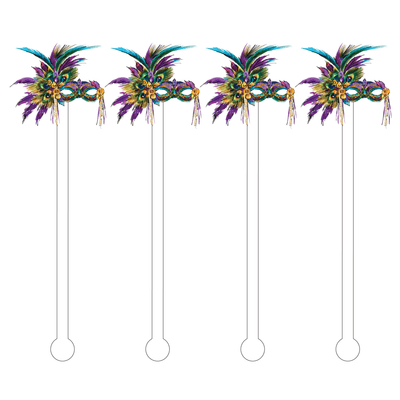 Mardi Gras Mask Acrylic Stir Sticks