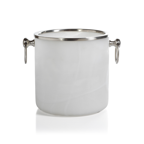 Alabaster Ice Bucket with Matte Nickel Trim