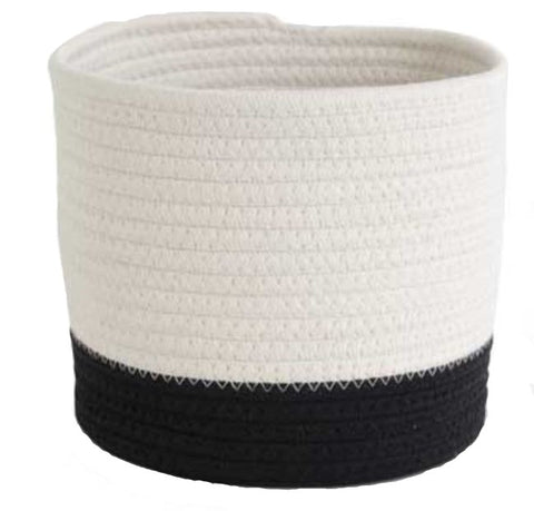 Black & White Rope Basket - Round