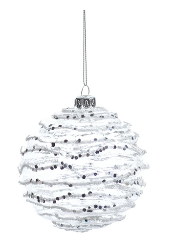 White & Silver Wave Ornament Medium