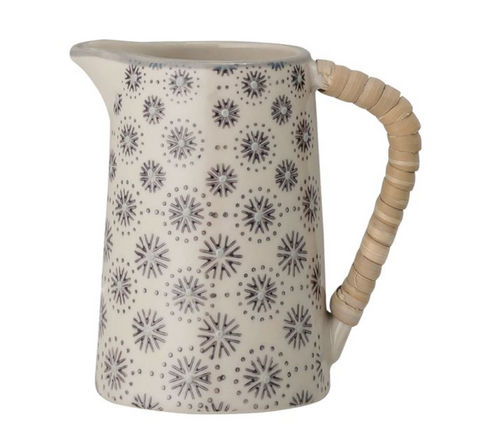 Rattan and Hand-Stamped Pitcher