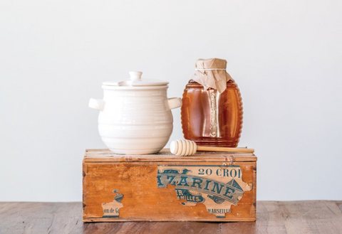 Stoneware Honey Jar + Wood Dipper