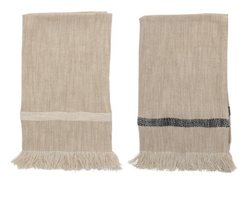 Fringed Cotton Tea Towel Set