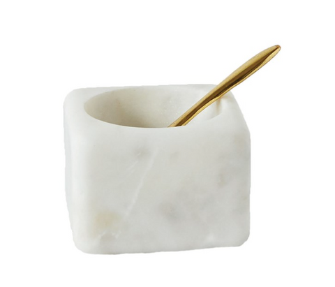 White Marble Bowl and Brass Spoon