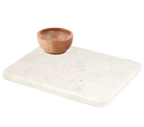Marble Tray + Wooden Bowl