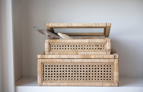 Rattan & Wood Display Box
