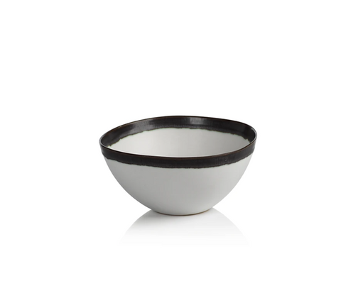 White Bowl with Black Rim
