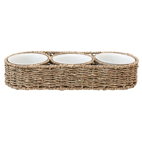 Hand-Woven Seagrass Basket w/ 6 oz. Ceramic Bowls