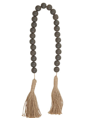 Charcoal Wood Beads with Tassle