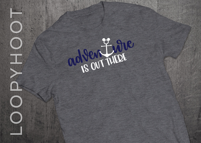 Adventure Is Out There Mouse Anchor Cruise Shirt in Gray