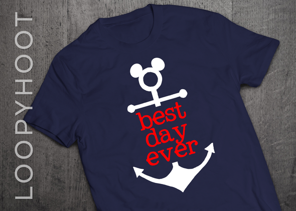 Best Day Ever Mouse Anchor Cruise Shirt in Navy