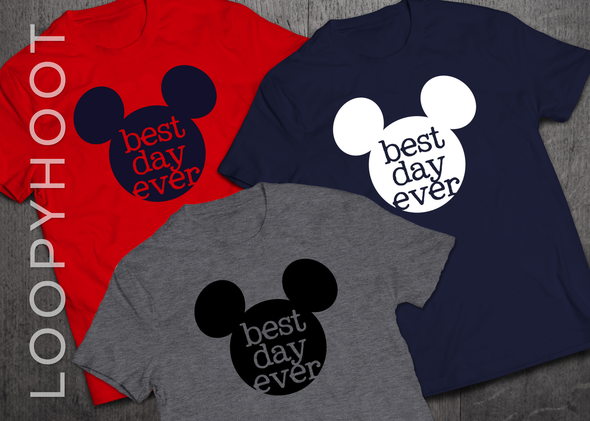 Best Day Ever Mouse Ears Shirt in Navy, Red or Heather Gray
