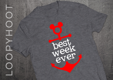 Best Week Ever Mouse Anchor Cruise Shirt in Gray