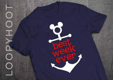 Best Week Ever Mouse Anchor Cruise Shirt in Navy