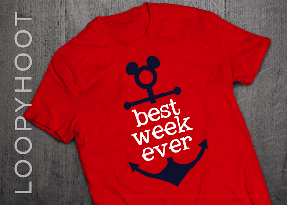 Best Week Ever Mouse Anchor Cruise Shirt in Red