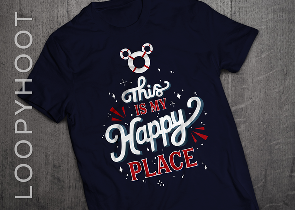 Happy Place Cruise Shirt in NAVY BLUE