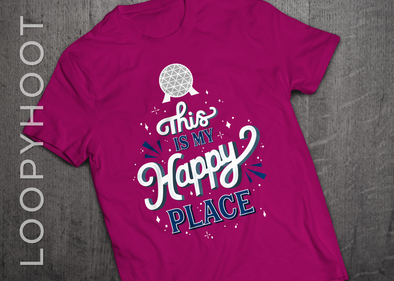 Happy Place Epcot Shirt in BERRY