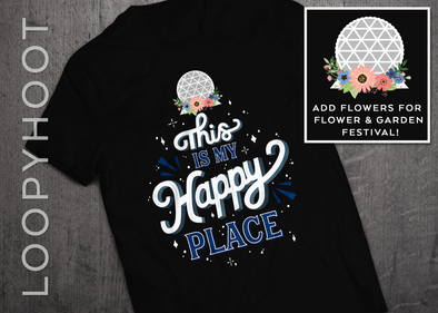Happy Place Epcot Shirt in BLACK