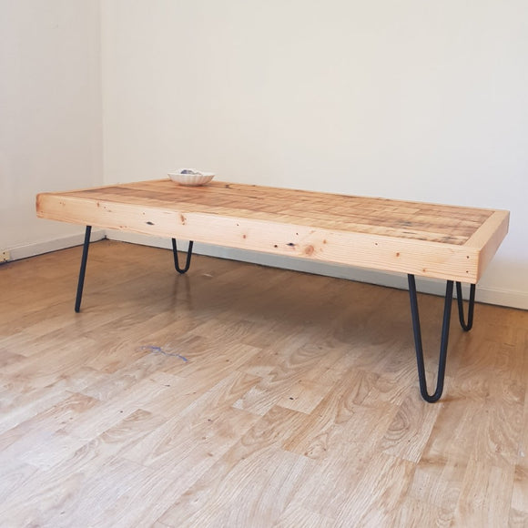 Reclaimed Oregon Coffee Table (Low Line 310mm) with Black Hairpin Legs