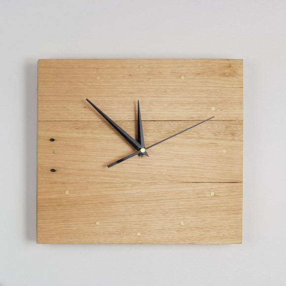 Reclaimed Timber Square Wall Clock - Light Timber (Beeswaxed) - 12 Brass Indicators (300mm x 270mm)