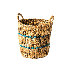 Blue Jute Stripe Sea Grass Basket. Large - Wholesome Habitat