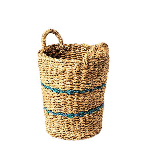 Blue Jute Striped Sea Grass Basket - Small - Wholesome Habitat
