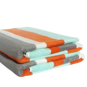 Organic Bamboo Beach Towel - Aqua, Grey & Orange - Wholesome Habitat