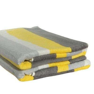 Bamboo Beach Towel - Lemon, Grey & Charcoal - Wholesome Habitat