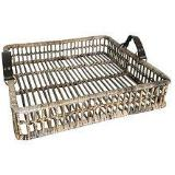 Barossa Kubu Grey Rattan Open Weave Square Tray. - Wholesome Habitat