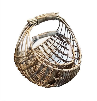 Barossa Set of 2 Open Weave Kubu Grey Rattan Baskets. - Wholesome Habitat