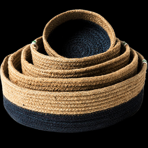 Braided Jute Bowls Black Bottom - Set of 5 - Wholesome Habitat