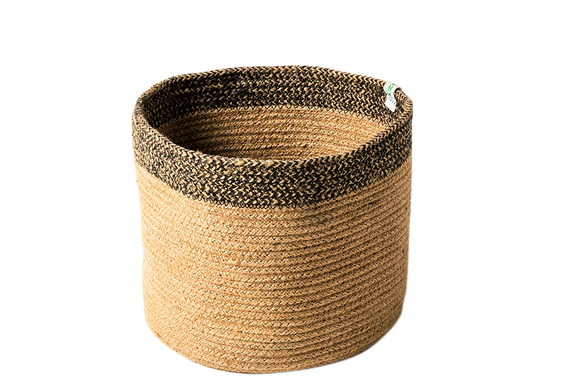 Braided Jute Basket - Black Top - Wholesome Habitat