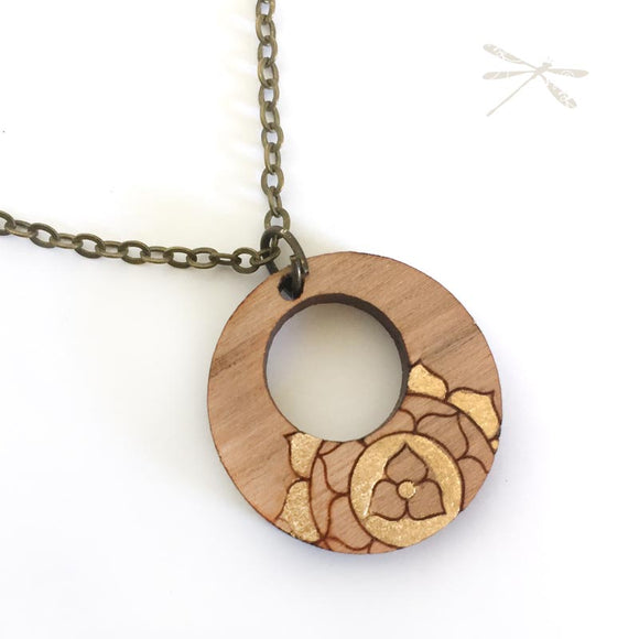Chakra Wood Pendant Gold - Wholesome Habitat