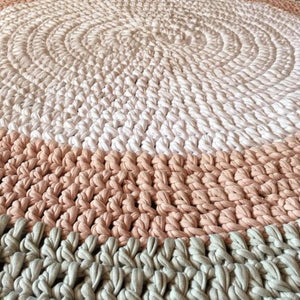 Crochet Floor Rug Three Tone - White, Grey & Beige - Wholesome Habitat